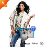 Хлопок полиэстер женская сумка с молнией водонепроницаемый Складные боковые подушки безопасности