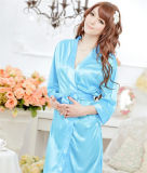 Sexy Women Satin Lace Robe Vêtements de nuit Lingerie Nightdress G-String Pyjamas