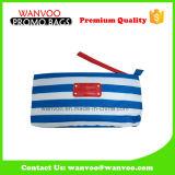 Мешок карандаша хлопка холстины нашивок сини и белизны военно-морского флота косметический
