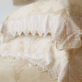 O fundamento branco bordado luxo da seda 4-Piece do algodão do cetim do laço ajusta as tampas do Duvet ajustadas