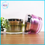 クリームのための贅沢な円形の装飾的な瓶のプラスティック容器