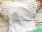 Alineadas del verano de las muchachas impresas con hola ropa linda de los niños del gatito