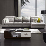 Design elegante contemporâneo Mobiliário doméstico cinza tecido de Canto Sofá