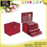 Классическая роскошная коробка ювелирных изделий белой кожи (5440)
