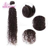 Natürliches schwarzes Jerry-lockiges brasilianisches Haar-Jungfrau Remy Haar 100%