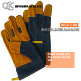 K-303 Grey Cow Split Full Palm Liner Rubberized Cuff Canvas Back Leather Working Safety Gloves
