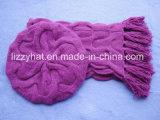 Берет/шлем и шарф шерстей Chuncky Ангора способа установленные/пурпуры