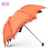 Рекламировать женщин края шнурка Customed выдвиженческих миниых складывая зонтик с печатью логоса