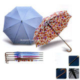 2018 ombrello diritto di vendite del tessuto di seta naturale di legno caldo della maniglia 190t