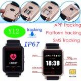 1.54 Reloj impermeable Y12 del perseguidor del GPS de los ancianos de la pantalla táctil de TFT