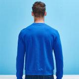 Maglietta felpata lunga del cotone di colore della pianura del manicotto di Crewneck del pullover dell'uomo