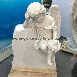 Het Huilen van de Grafsteen van de fabriek de Witte Marmeren Grafsteen van de Ets van de Engel voor Verkoop