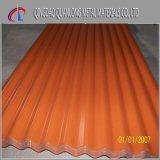 La couleur a enduit la feuille en acier ondulée galvanisée enduite d'une première couche de peinture de toiture