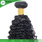 100%年のバージンの加工されていないインドの人間の毛髪の巻き毛のよこ糸