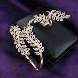 여자 형식 실제적인 금 도금된 구리 지르콘 종려 팔찌 R892