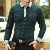 مظلمة - خضراء [برثبل] لعبة البولو عنق طوق طويلة كم نابض أعلى رجل [ت] قميص