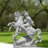 Marmeren Beeldhouwwerk van een Militair die het Paard en de Kwade Draak berijden