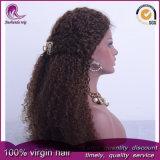 아프로 꼬부라진 브라운 색깔 중국 Virgin 머리 정면 레이스 가발
