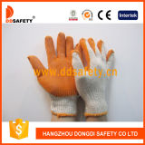 Il cotone 2017 di Ddsafety ha lavorato a maglia con i guanti arancioni del lattice