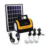 Luz solar 10W Iluminación del hogar Kit de energía de paneles solares con 3pcs lámpara solar con radio FM, reproductor de MP3