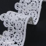 3.5cm Latstの円デザインの乳白色の白いポリエステル刺繍のレースのトリム