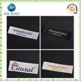 Escritura de la etiqueta tejida doblez de encargo del extremo de los fabricantes de ropa de la escritura de la etiqueta privada (JP-CL096)