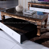 Mesa de centro luxuosa da cor do ouro moderna com parte superior de mármore