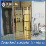صنع وفقا لطلب الزّبون نوع ذهب [8ك] مرآة [ستينلسّ ستيل] خمر خزانة مع مبرّد
