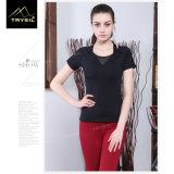 Tapas atractivas de Blakless de la camisa del negro de la camiseta de la yoga para el deporte