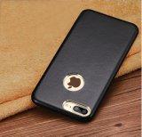 Cassa nera di cuoio del telefono mobile per il iPhone 7/7plus