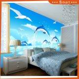 Dauphins Plongée et Flying Sea Gull Belle image Peinture à l'huile