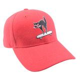 卸し売り赤6のパネルの刺繍の綿の野球帽