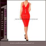 Plus Size Zipper Retour PVC Slim Clubwear femmes robe en cuir