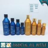 Botella de aceite esencial de vidrio de color europeo con tapa de oro