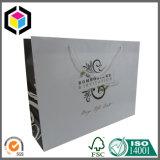 Brilhante Color Print Logo Sacola de papel com alça de fita