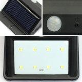 Luz de calle solar de la iluminación de la pared de la lámpara de 8 LED con el sensor de movimiento de PIR