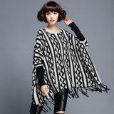 女性の方法綿のナイロンによって編まれる冬のフリンジのプルオーバー(YKY2054)
