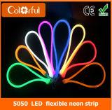 Luz de tira de néon flexível impermeável do diodo emissor de luz de SMD5050 RGB