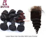 """표백된 아기 머리를 가진 브라질 느슨한 머리 마감 4 """" X4 """" 자연적인 색깔은 스위스 레이스를 매듭을 짓는다"""