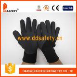 Ddsafety 2017 gants élastiques élevés noirs de double de mousse de latex de noir de polyester