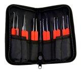 Красный прозрачный Padlock практики с мешком 15PCS Lockpicking холстины оборудует красный случай кремния (комбинированное 6-2)