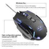 コンピュータのパソコンマウスG2賭博マウス6のためのMouse/USBによってワイヤーで縛られる賭博マウスは3200 Dpiの黒にボタンをかける