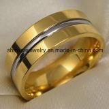 Anillo de compromiso de titanio joyería chapado en oro
