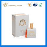 Caja de embalaje cosmética de empaquetado del rectángulo del libro del perfume de lujo de la dimensión de una variable (con la hoja de la insignia del oro)