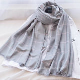 Cotone tessuto 2017 assegni/signora acrilica Stole/sciarpa di modo (HWBA091)
