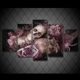 [هد] يطبع جمجمة وورود [بينتينغ كنفس] [برينت رووم] زخرفة طبعة ملصقة صورة نوع خيش [مك-041]