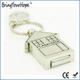 Metallhaus USB-grelle Platte mit Schlüsselring (XH-USB-120)