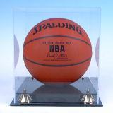 Cadre acrylique de cube en étalage de bille de basket-ball et de football