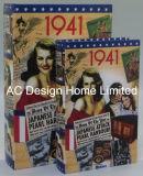 S/2 Diseño de la película Vintage de cuero de PU/almacenamiento de madera MDF cuadro Libro