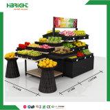 Double Sided Hypermarket Wood Fruit Shelf Display